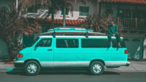 Converted campervan insurance - Shows a blue convert van with a man on top