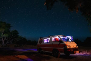 Converted campervan insurance - Shows a campervan at night