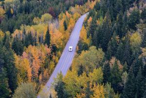 Shows a rural campervan trail